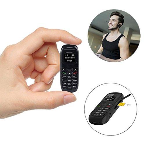 L8star BM70 Mini Mobile Phones Bluetooth Handset Phone Support Nano SIM Card 0.66inch(Black) by L8star