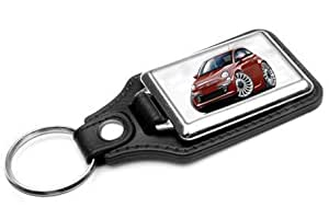 Amazon Com Fiat 500 Leather Key Ring New Automotive