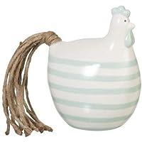BeKreative Gallina Righe Ceramica Bianca Decorazione 14x11x18cm