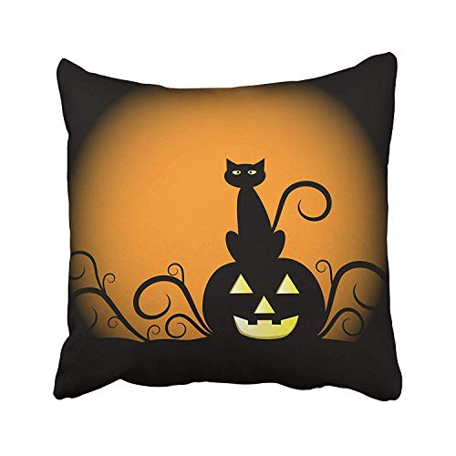 XINNAN Orange Halloween Pumpkin and Cat Yellow Black Moon October Clipart Scary Harvest Angry Beautiful Design Throw Pillow Covers 18x18 Inch Decorative Cover Pillowcase Cases Case Two Side -
