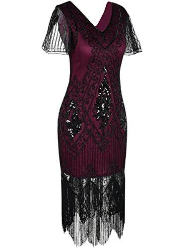 Vestito Corte Sera Prettyguide Donna Borgogna Maniche 4wAAdgvq
