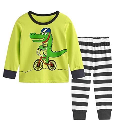 Csbks Toddler Long Sleeve Pajama Boy Girl Cotton Pant Sets Kids Clothes Novelty Crocodile 3T