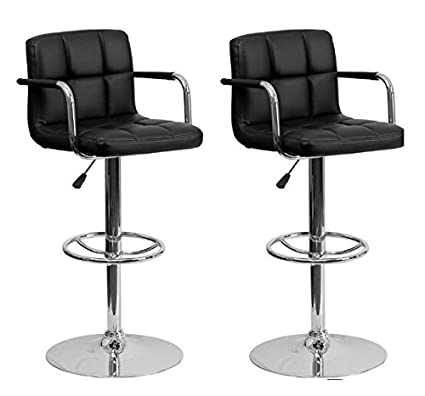 Chic Elite Modern Adjustable Synthetic Leather Bar Stools   Black   Set Of 2