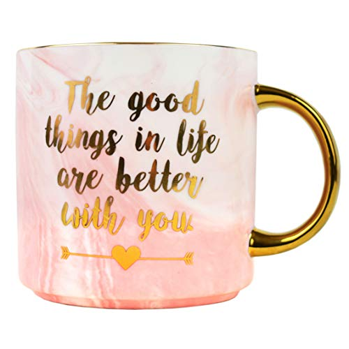 Coffee Mug Present for Mom Girlfriend -Birthday Presents for Her Sister Wife Daughter -Pink Marble Ceramic Cup 11 Ounce