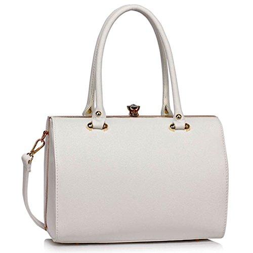 Xardi London barile Frame designer borsone da donna in pelle sintetica borse a tracolla borse UK White