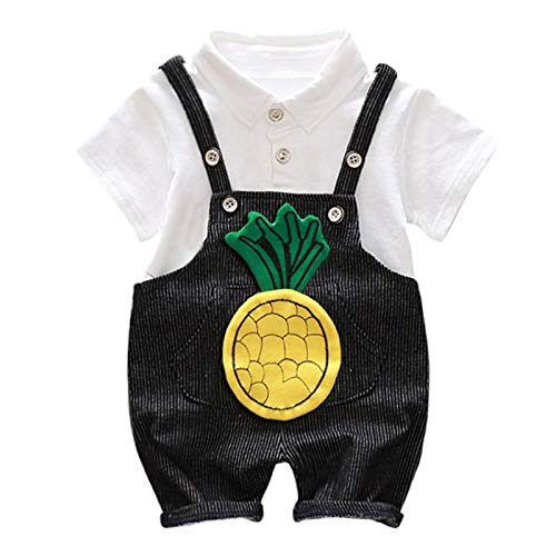 Baby Boy Pure Cotton Short Sleeve Top Tees Romper Suspender Pants Set Cute Little Gentleman Pineapple 3D Embroidery 2Pcs (Dot Haute Baby)