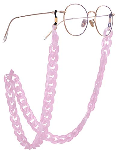 EUEAVAN Fashion Twist Link Acrylic Eyeglass Chain Marble Texture Sunglasses Holder Eyewear Retainer Strap for Women (Pink) (Sunglass Retainer Pink)