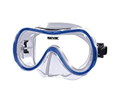 Single-lens mask for adults in tempered glass, easy adjustable buckle system, skirt in strong Siltra