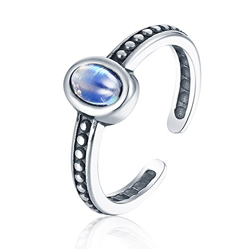 Sterling Silver Transparent Ring (Luna Azure Colored Vintage Moonstone Sterling Silver Adjustable Ring)