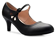 These adorable vintage mary jane pumps have a sleek vegan leather upper and a heel to add a touch of height and style to your everyday look. A must-have in every womens closet!