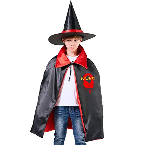 Wodehous Adonis Melting Microphones Music Note Kids Halloween Costume Cape Witches Cloak Wizard Hat Set