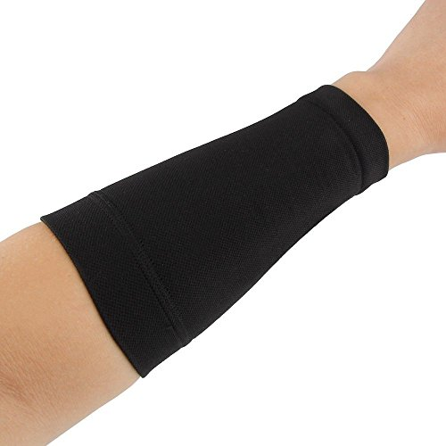 Black/Skin Forearm Tattoo Cover Up Band Compression Sleeve Fat Burning UV Protection(1PCS) (M, black)