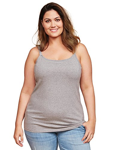 - Motherhood Maternity Women's Maternity Clip Down Nursing Tank Top Cami, Heather Grey, 2X
