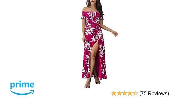 90d7b804efa Azalosie Women Off Shoulder Maxi Dress Maternity Floral Short Sleeve Empire  Waist Slit Dress Summer Party Beach Fuchsia at Amazon Women s Clothing  store