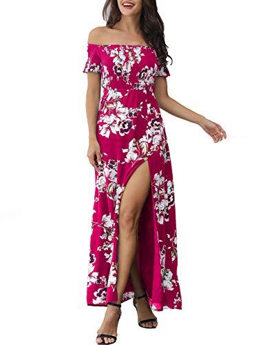 Azalosie Women Off Shoulder Maxi Dress Floral Short Sleeve Split Slit Boho Summer Hawaiian Party Beach Wedding Dress Fuchsia