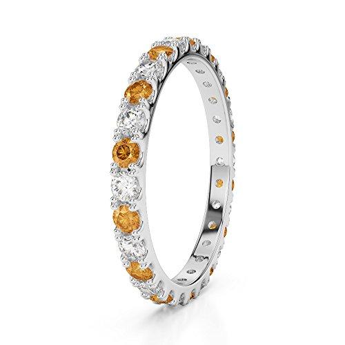 G-H/VS 0,34CT Coupe ronde sertie de diamants et citrine Full Eternity Bague en platine 950Agdr-1120