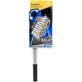 Camco Adjustable Broom and Dustpan, Gets In Small Spaces and Corners, Telescoping Broom Handle Adjusts From 24 Inches to 52 Inches, Ideal for RV, Marine, And Home Use (43623)