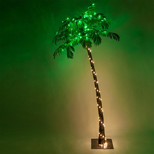Kringle Traditions 10 Function LED Lighted Palm Tree - Pre-Lit Palm Tree Indoor/Outdoor - Remoted Controlled with Timer (7 Ft)