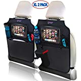 Car Seat Organizer by Oowap – Kick Mats Back Seat Protector – Backseat Car Organizer - 2 Pack XL with iPad/Tablet Holder - Free Tissue Box Case for Toddler and Baby