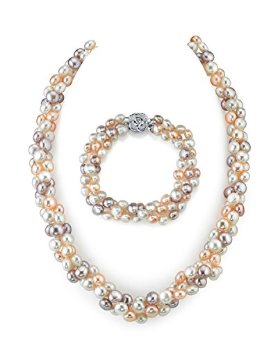 5mm Multicolored Freshwater Cultured Pearl Necklace & Bracelet by The Pearl Source
