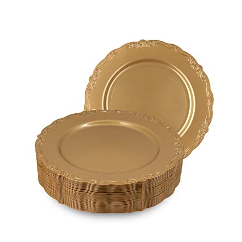 Disposable Gold Dinner Plates, Vintage Party Plates, 30 Pack 10.25