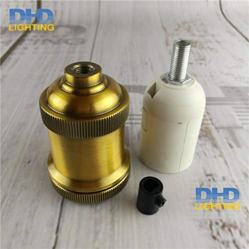 Lamp Base - 4 colors E27 lighting socket DIY vintage iron pendant lamp accessories industrial aluminum ceramic lamp holder - (Color: antique brass, Base Type: 10units) by Kamas (Image #2)