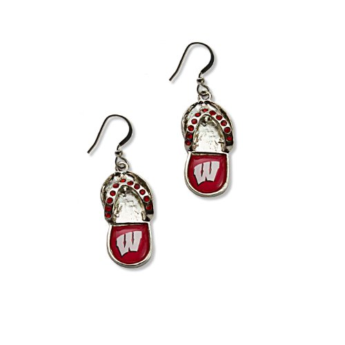 (NCAA Wisconsin Badgers Crystal Flip Flop Earrings)