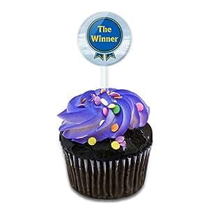 Blue Ribbon The Winner Award Cake Cupcake Toppers Picks Set