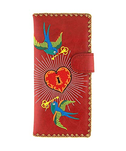 LAVISHY Embroidered Tattoo Style Love Birds & Heart Vegan/Faux Leather Large Flat Wallet (Red)