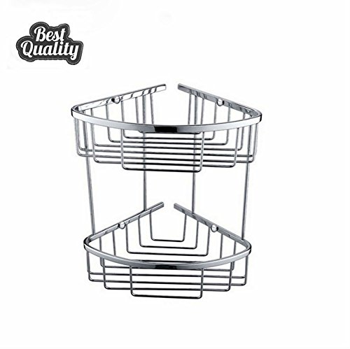 STERNBERG 2-Tier Free Standing Bathroom or Shower Corner Storage Shelves for Towels, Soap, Shampoo, Lotion, Accessories,Chrome (Triangle Soap Lotion)