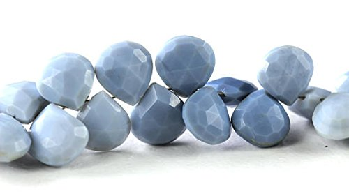 Oregon Blue Opal, Faceted Heart Briolette, Natural Briolette Beads, 8.2mm to 8.7mm x 8.8mm to 9.3mm, Shades of Light Blue 10 (Opal Briolette Bead)