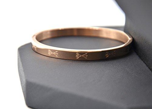 BC2166D - Bracelet Jonc Acier Or Rose avec Motif Triple Flèches Ethnique