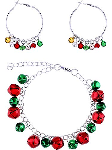 - Sumind Christmas Bell Hoop Earrings Dangle Hoop Earring and Bells Pendant Bracelet Festival Jewelry Gift Set for Women Girls