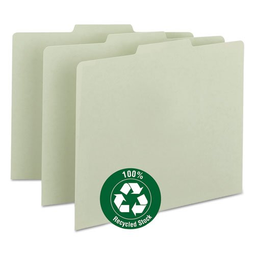 Green Recycled Tab File Guides, Blank, 1/3 Tab, Pressboard, Letter, 100/Box, Sold as 100 Each