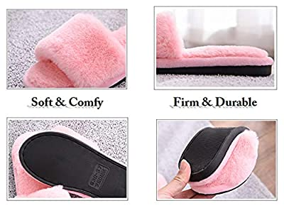 Women's Fuzzy Fluffy Furry Fur Slippers Flip Flop Open Toe Cozy House Memory Foam Sandals Slides Soft Flat Comfy Anti-Slip Spa Indoor Outdoor Slip on