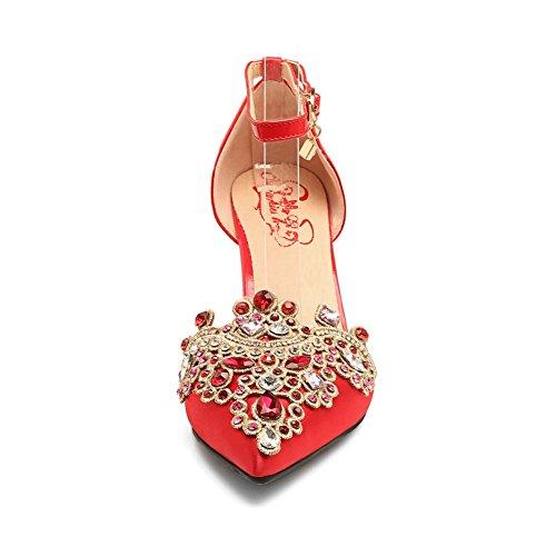 Red Compensées Sandales 36 5 Femme Rouge BalaMasa qIHzI