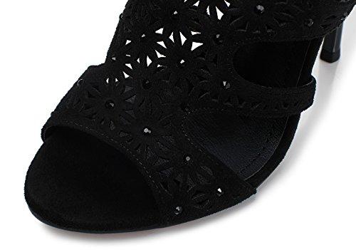 Lizform Vrouwen Peep Toe Avond Naaldhakken Bloemmotief Slip Sandalen Studded Pump Hak Schoenen Black3