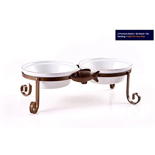 High Quality SparkWorks Elevated Cat Feeding Station Includes Two  Microwave/Dishwasher Safe Glazed Stoneware