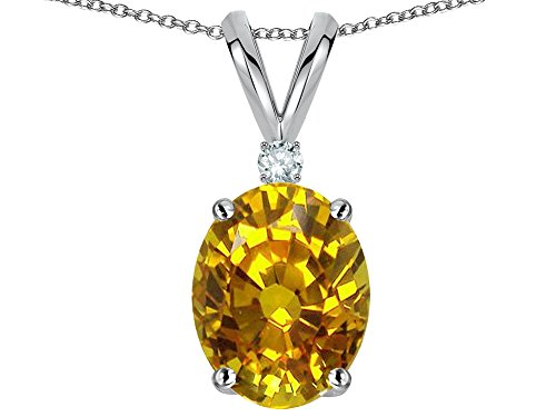Star K Oval 8x6mm Genuine Yellow Orange Sapphire Pendant Necklace (Orange Sapphire Necklace)