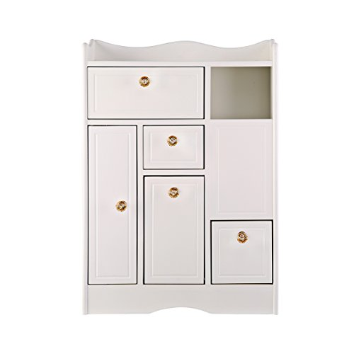 Cocohot White Storage Cabinet Multipurpose Toilet Side Cabinet Bath Corner Cabinet Rack 25x18x5 inch by Cocohot