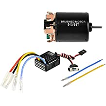540 35T 4 Poles Brushed Motor and WP-1060-RTR 60A Waterproof Brushed ESC Electronic Speed Controller with 5V/2A BEC for Axial RC4WD Cross HPI Mist GMADE D90 D110 TF2 SCX10 ii PG4 MC8 WARAITH Y (35T)