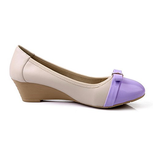 Pumps Pull On Shoes Kitten Closed Purple Color AmoonyFashion Heels Round Toe Assorted Womens xOCnqUwRv