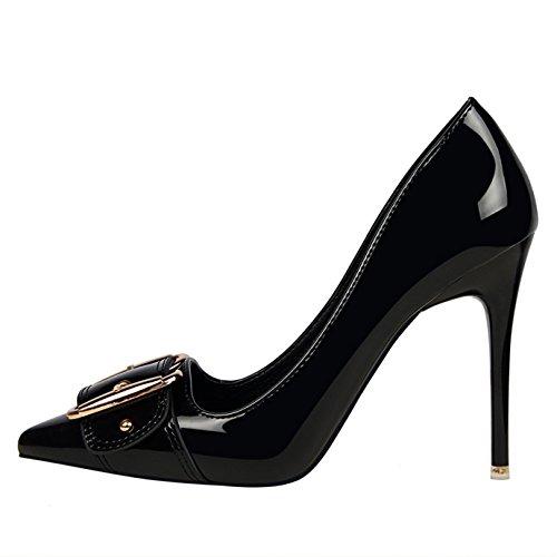 Grande Vernis Soirée Noir Femme Bout classique Pointu Escarpins Chaussures Aiguille Boucle Haut Talon OALEEN Xq5Ufn