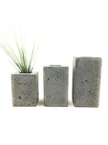 Square Concrete Succulent Planters / Air Plant Holder / Vase. (set of 3) Natural Gray