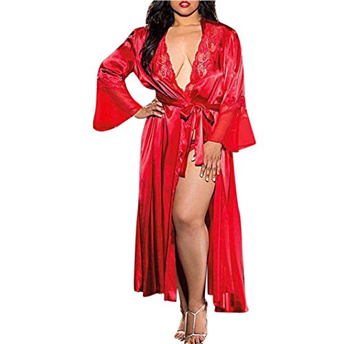 - OurhomerWomen Nightgown Long Silk Kimono Dressing Gown Babydoll Lace Lingerie Bath Robe (Red, 2XL)