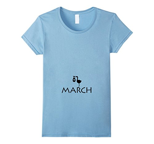 Womens Pregnancy Baby Due Born In March Maternity T-Shirt Large Baby Blue (T-shirt Maternity March Baby)