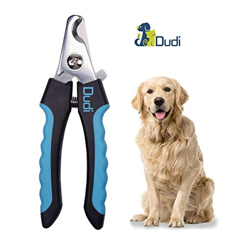 Dudi Dog Nail Clippers and Trimmer - with Quick Safety Guard to Avoid Over-Cutting Toenail - Grooming Razor Sharp Blades for Small Medium Large Breeds (Blue)