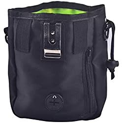 Yanyu Dog Training Bag,Dog Snack Bags, Carrying Dog Food Built-in Poo Waste Bags Dispenser with Collapsible Travel Pet Bowls,Black