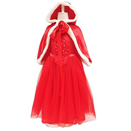 Preferhouse Girls Christmas Santa Dress Costume Tulle Princess with Cloak Red ()