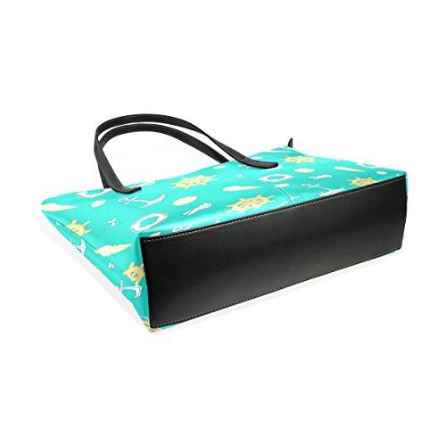 Borsa Sacchetto Borse Medio Ancore In E Bag Pelle Tote Blu Coosun Muticolour Donne Della Vela Le Per Pu Tracolla Modello xvqU871